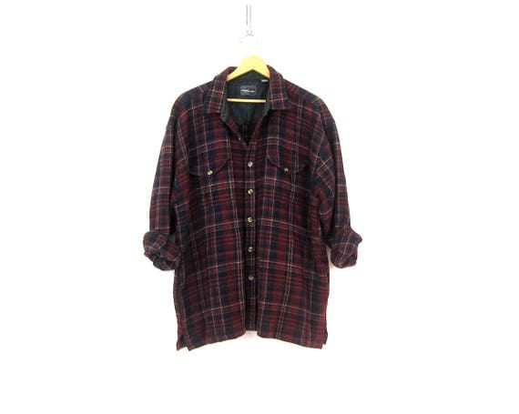 Dark Red Plaid Shirt WOOL Flannel Lumberjack Button Up Pocket Shirt Coat Oxford Vintage Rugged Work Shirt Men's Size XL Extra Large