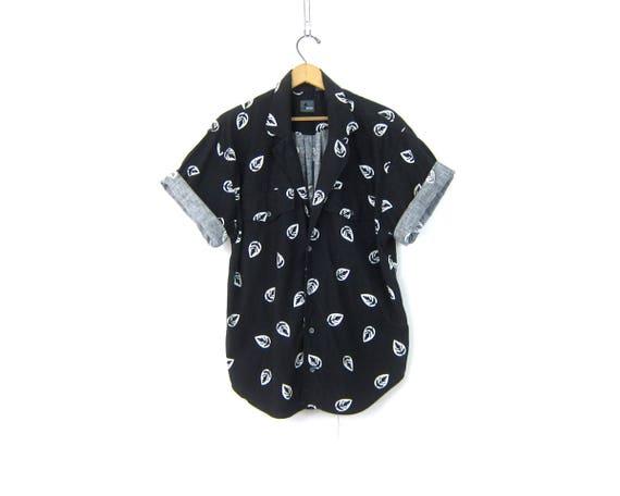 Vintage 80s LEAF Print Shirt Button Up SAFARI Jungle TShirt Short Sleeve Tee Long Black and White Resort Wear Shirt Womens Size Medium