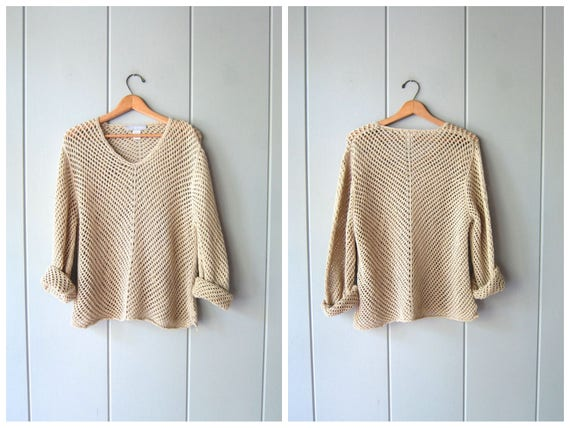Oversized OPEN KNIT Sweater Linen Cut Out Slouchy Sheer Crochet Top Beige Knit Shirt Mesh Knit Minimal Vneck Sweater Hipster Womens XL Large