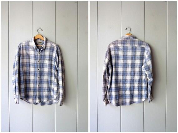 Vintage Plaid Shirt Blue Grey Textured Cotton Button Up Shirt Boyfriend Flannel Shirt Fall Plaid Shirt Grunge Button Down Mens Large XL