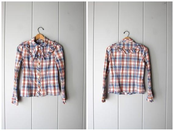 70s Plaid Blouse Small Fit Boho Western Ruffle Peasant Shirt SEAR SUCKER Button Up Rockabilly Top Vintage 1970s Secretary Blouse Womens XS