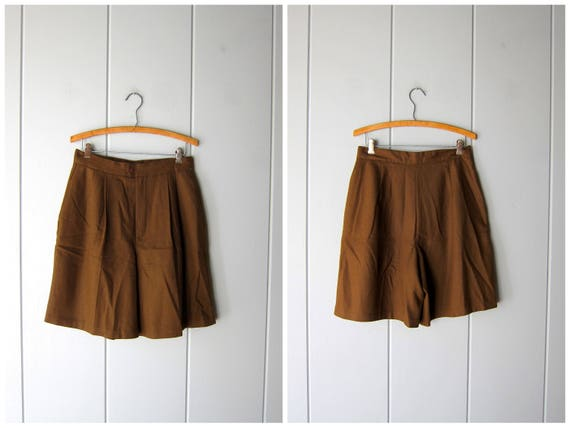 Vintage Brown Wool Shorts 80s Pleated Wool Shorts High Waist Preppy Casual Work Shorts Fall Pocket Shorts Modern Minimal Womens Medium