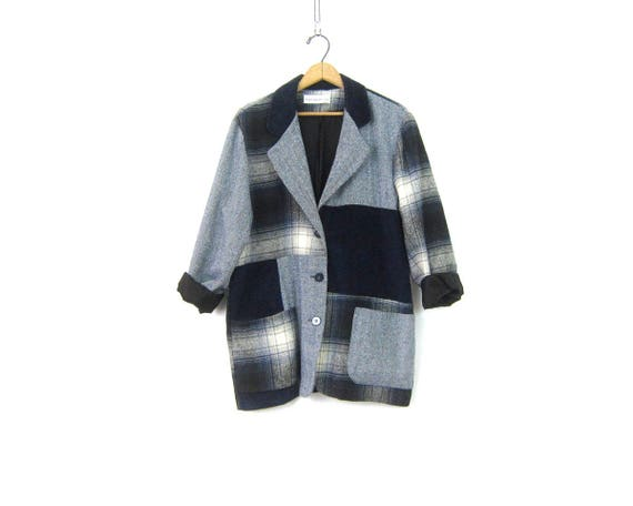 Vintage Patchwork Jacket Plaid Flannel and Corduroy Equestrian Preppy Blazer Slouchy Oversized Fall Layering Pocket Coat Womens Medium Large