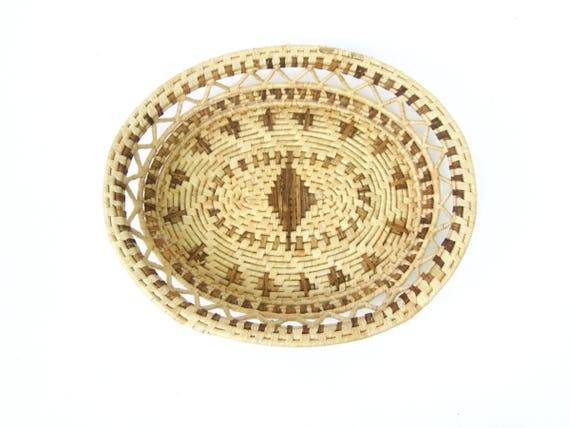 Handwoven Woven SISAL Plate Bowl Decorative Natural Woven Wall Basket Coil Basketweave Shallow Bowl Modern Earthy Home Decor Bohemian Chic