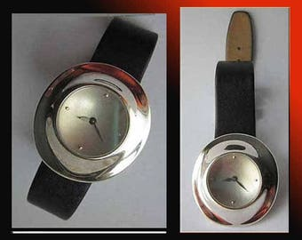Robert Lee Morris Wristwatch, Modernist Sterling Silver Moon Crater Face, Deployment Clasp Band, Not Studio or QVC, Vintage Jewelry,Women