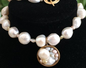 Freshwater Pearl Strand Necklace With Clustered Varied Pearl Pendant