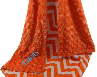 SALE Orange Chevron with Orange  Rose Swirl Baby Blanket, Orange Chevron  Baby Blanket, , three sizesCan Be Personalized