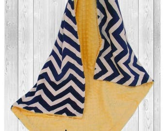 SALE Navy and Yellow Minky Baby Blanket, Navy Chevron with Saffron Yellow Minky, Double Minky BlanketCan Be Personalized