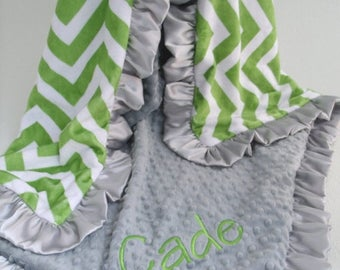 SALE Green Chevron and Gray Minky Dot blanket Can Be Personalized