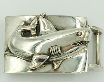 Barry Kieselstein Cord Shark Belt Buckle Sterling Silver