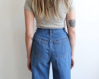 Vintage 70s High Wasited Denim/ Wide Leg Jeans/ Size 28