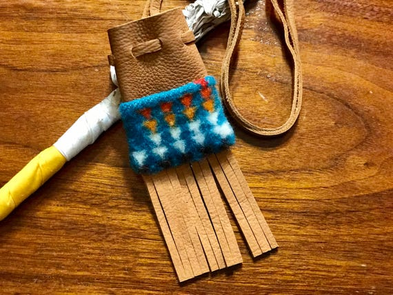 Fringed Medicine Bag / Amulet Bag Wool and Leather Turquoise