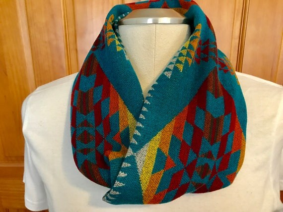 Wool Infinity Scarf 61 x 7 Turquoise & Black