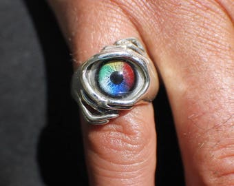 Sz 8 Sterling Silver Rainbow Glass Eye Ring