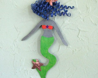 Metal Wall Art Mermaid Sculpture Beach House Coastal Bathroom Wall Decor Lime Green Blue Mermaid Art  5 x 9 inches