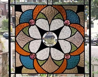 THE JEWELS WITHIN Stained Glass Window Panel (Signed and Dated)