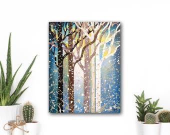 Abstract Tree Painting Tree Wall Decor, Winter Landscape Art Painting, Forest Wall Art, Abstract Landscape Home Decor