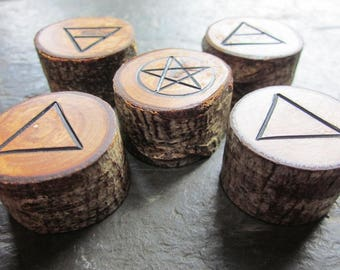 Natural Wood Element Symbols - Rowan - Portable Pocket Altar or Pagan Decor.