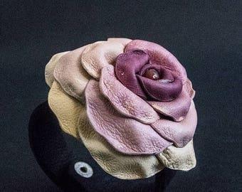 50% OFF SALE Floral rose leather women bracelet Cuff Statement jewelry