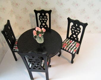 Dollhouse table, four chairs, round table, Rectangular country table, Black, elegant black table  set,, twelfth scale, dollhouse miniature