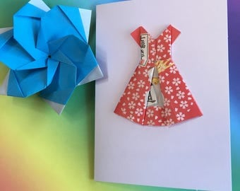 Origami greeting card - Hello Kitty paper dress (red)