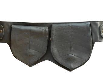 Leather Utility Belt   Black Double Leaf, 3 Pocket   travel, cosplay, festival   Fits iPhone