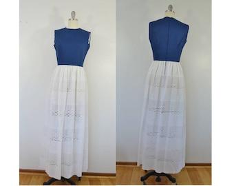 Vintage Blue and White Eyelet Maxi Dress Sleeveless