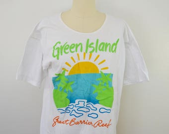 Vintage GREEEN ISLAND Australia tourist t-shirt xl scoop neck