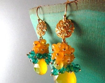 25 OFF Yellow Chalcedony and Peacock Teal Blue Quartz Gold Filled Cluster Earrings