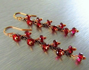 25 OFF Rhodolite Garnet With Rose Gold And Oxidized Silver Cluster Earrings