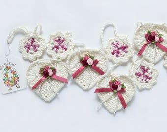 Wedding Garland - Crochet - Rose Pink - Cotton / Bamboo