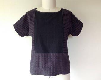 Susie color blocked cotton top- black/gray -Large