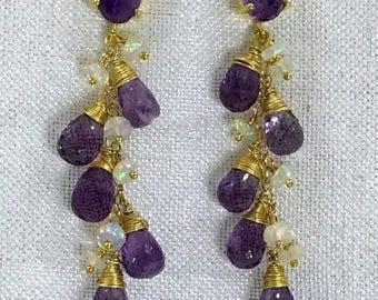 FLASH SALE Opal Amethyst Earrings Boho Dangle Wire Wrap Gold Fill Purple Amethyst Post Earrings Ethiopian Opal Gold Post Earring Boho Chic L
