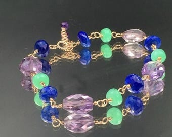 30% SALE Rose Gold Fill Bracelet Wire Wrap Blue Lapis Bracelet Adjustable Layering Amethyst Bracelet August Birthstone Chrysoprase Gemstone