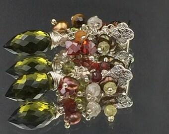 30% SALE Olive Green Cluster Earring Post Earring Wire Wrap Olive Garnet Tiger Eye Red Cz Garnet Carnelian Bronze Pearl Earth Tone Earrings
