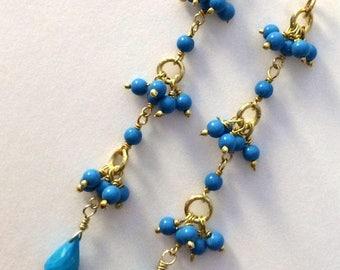 SUMMER SALE Turquoise Earrings, Dainty Turquoise Earrings, Long Turquoise Earrings Minimalist Turquoise Gold Earrings Handmade Bohemian Jewe