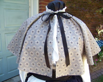 """Ladies Civil War 36"""" Cape Beige with navy blue & black cotton print with black lining Handmade, one size fits all this is the last one"""