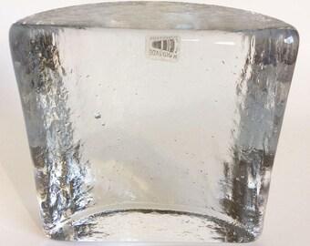Vintage Blenko glass bookend, Clear Scandinavian Glass, Half Moon paperweight