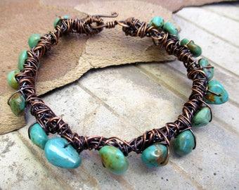Twisted Wire Bracelet ,Turquoise Bracelet, Wire Wrapped Jewelry, Wire Wrapped Bracelet with Stones, Copper Bangle,Gypsy Bangle,Boho Bracelet