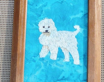Labradoodle Dog Portrait, Hand Embroidered, Framed