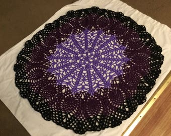 Purple black pineapple stitch doily