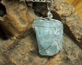 Aquamarine crystal - Sterling Silver thin wire wrapped necklace pendant - blue beryl small natural raw rough Crystal - coyoterainbow QQP4