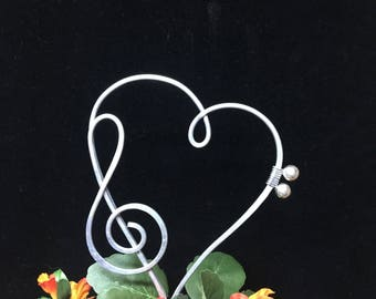 Music Note Heart Cake Topper Whimsical and Wacky BASS and TREBLE CLEF