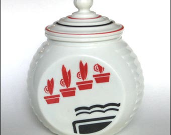 Fire King Glass 1950s Red and Black Flowerpots Grease Jar for Drippings or Crafts Supplies