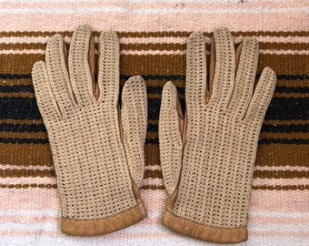 Vintage knit and leather gloves