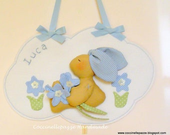 PANEL BEDROOM SET-STITCHABLE BUNNY ON CLOUD GIRL WITH EMBROIDERED NAME