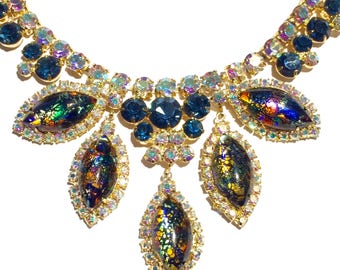 Rare huge juliana delizza and elster rhinestone art glass Easter egg necklace //royal blue