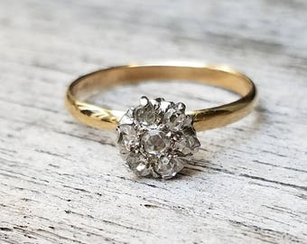 Antique Rose Cut Diamond Ring Conversion Ring 10K Gold Band Engagement Keepsake Promise Wedding