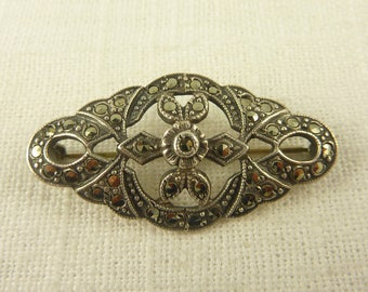 Antique Deco Sterling and Marcasite Brooch