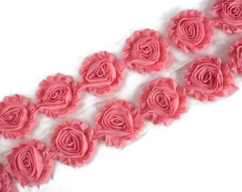 "Salmon  : 14 Flowers  | 2.5"" Chiffon Craft Roses for Headband DIY Kits 